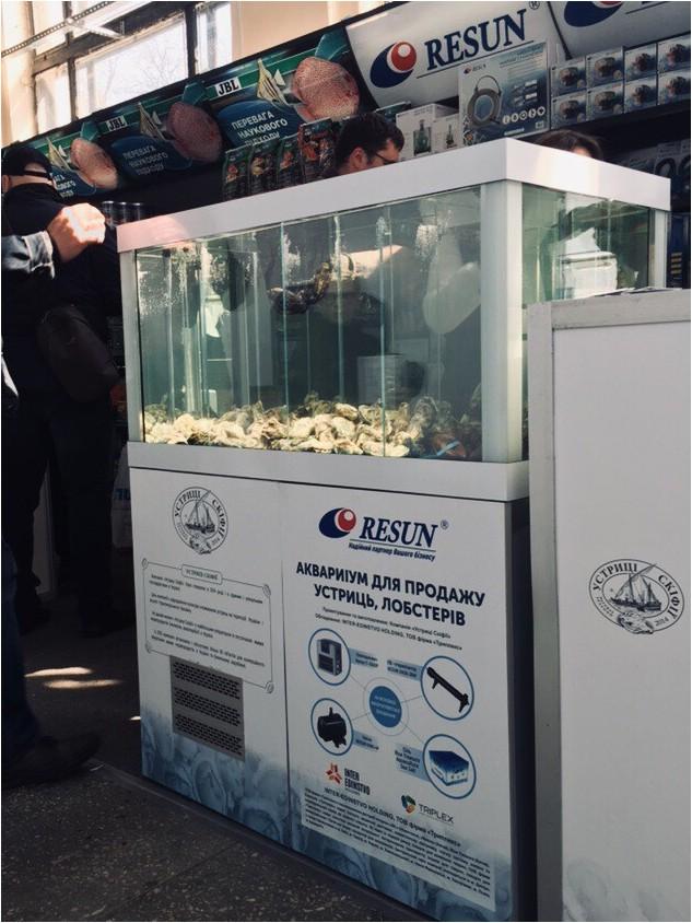 Аквариум для продажи устриц, лобстеров и других морепродуктов