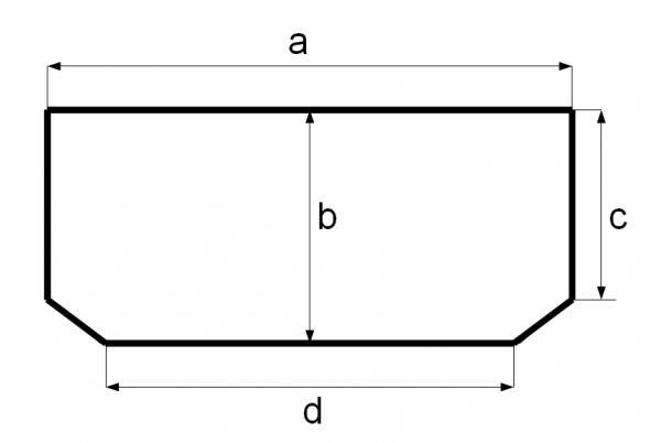 Схема аквариума прямоугольного со скошенными углами. параллелепипед со срезанными углами.