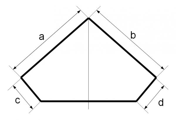Схема углового аквариума из плоского стекла.