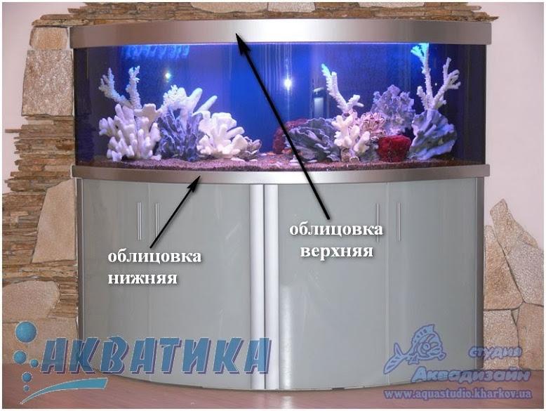 Крышка аквариумная. Облицовка верхняя и нижняя. Поддон