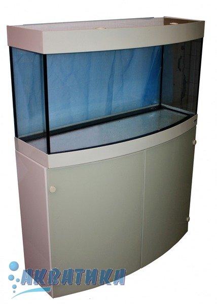 Аквариумный комплект. Аквариум с передним гнутым стеклом. Тумба для аквариума. Светильник аквариумный.