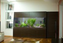 Аквариум разделяет гостиную и кабинет. Оформление, фото Арчакова И.